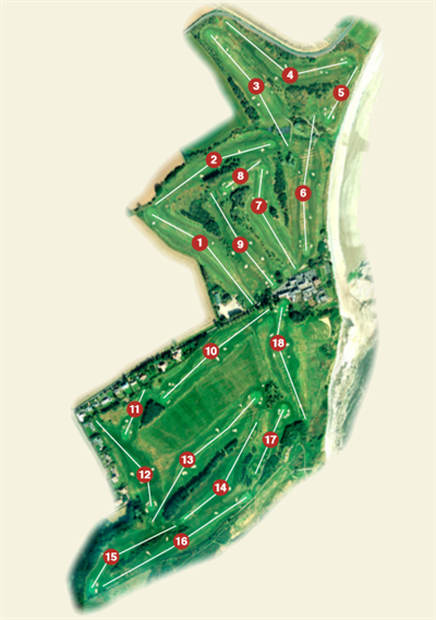 Overhead plan of Alnmouth Golf Club